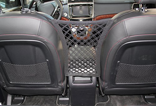 INNX Stretchable Back Seat Dog Barrier with Storage Net, Pets Front Seat Barrier for Sedan,Suv Mini-Van (11″ x 12.6″)