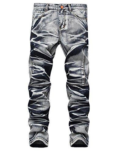 Men's Distressed Slim Straight Fit Washed Panelled Biker Denim Jeans Pants wh32