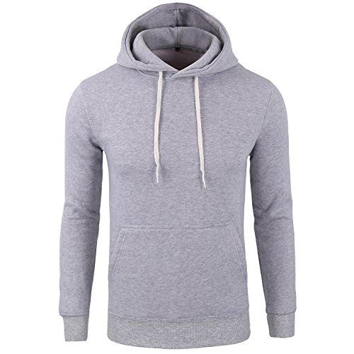 Manwan Walk Men's Basic Solid Comfortable Pullover Hoodie W146 (Large, Light grey)