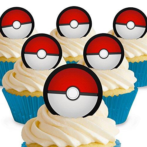 Cakeshop 12 x PRE-CUT Pokemon Pokeballs Edible Cake Toppers ()
