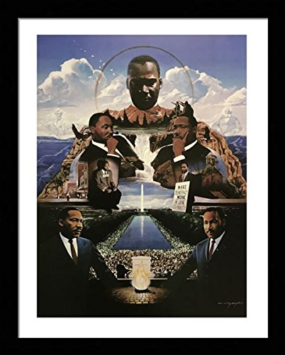 Black 1.5 inch Framed with Martin Luther King - Democracy, (History/Sports / African American Black Art / 3 J-22x28-14) 22x28 Inch Edward Clay Wright, Art Print & ()