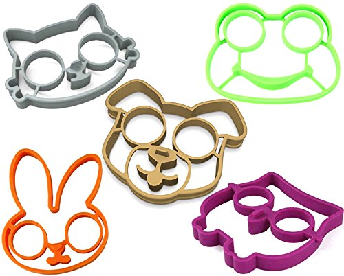 (stbeyond Fried Egg Molds set- Non Stick Silicone Fried Egg Molds Pancake Rings - Funny Style with Bunny, Owl, Dog,Frog and Cat (set of)