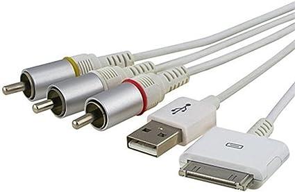 fivetech nos vídeo compuesto a tv-rca Cable USB para Apple iPad 1 iPad 2 iPhone iPod: Amazon.es: Electrónica