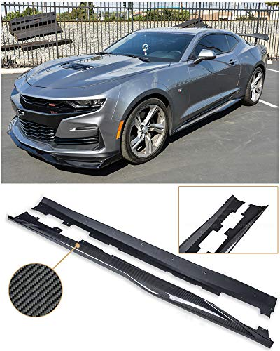 Replacement For 2019-Present Chevrolet Camaro SS & RS | ZL1 Style Side Skirts Rocker Panel Extension Pair (Carbon Fiber)