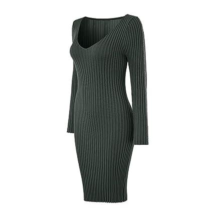 6d4f33a03c2 LineDress Women Ladies Deep V Neck Striped Long Sleeve Slim Fit Ribbed Knit Sweater  Dress Super ...