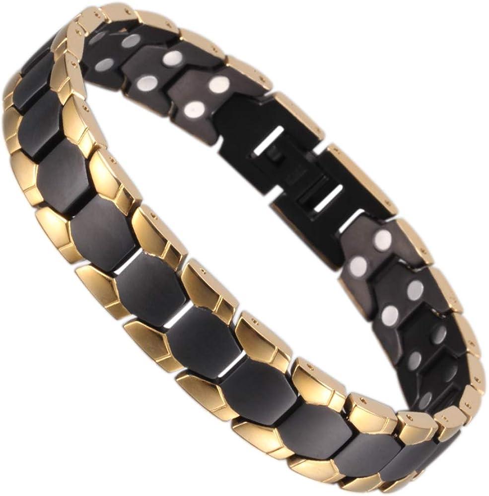 YINOX Bracelets magn/étiques titaniques Noirs pour Hommes avec des Bijoux aimants 44pcs
