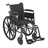 Drive Medical Cruiser III Light Weight Wheelchair with Various Flip Back Arm Styles and Front Rigging Options, Black, 20'