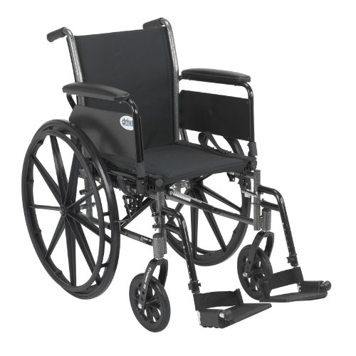 Cruiser Transit - Drive Medical Cruiser III Light Weight Wheelchair with Various Flip Back Arm Styles and Front Rigging Options, Black, 18