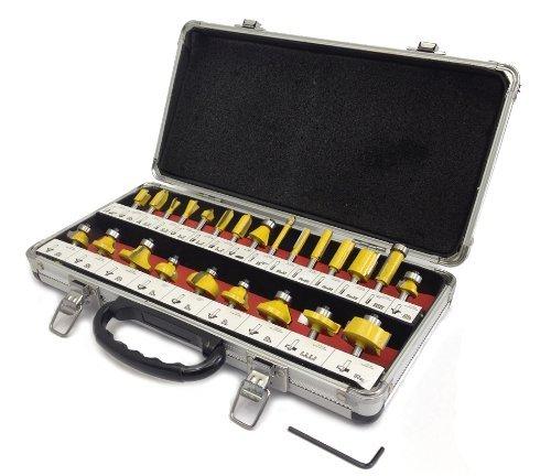 """24 piece ROUTER BIT SET - 1/4"""" shank NEW CARBIDE BITS Aluminum Carry Case"""