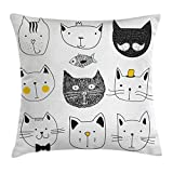Ambesonne Cat Throw Pillow Cushion Cover, Stylish Cats with Moustache Bow Tie Hat Crown Fluffy and Fish Humor Faces Graphic, Decorative Square Accent Pillow Case, 18 X 18 inches, Yellow Grey