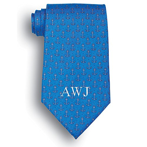 Personalized Silk Anchors Aweigh Novelty Tie with Embroidered Initials