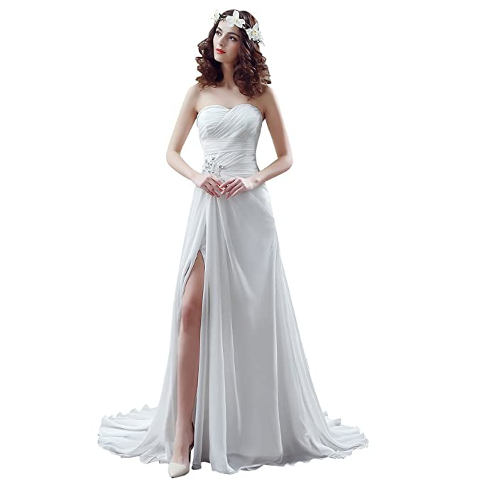 sipei para mujer novia boda vestidos gasa de corazones corte princesa Party Prom - Blanco -