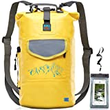Luck route Waterproof Dry Bag with Backpack Straps and Pockets - Floating DryBag for Beach - Camera Sack for Kayaking Boating or Fishing - Yellow, 20L