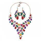 omylady Women Crystal Jewelry Set Teardrop Rhinestone Statement Necklace and Earrings Sets for Wedding Party