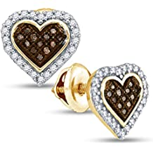10K Yellow Gold Heart Shape Halo Studs Micro Pave Set Chocolate Brown & White Diamond Earrings (1/4 cttw.)