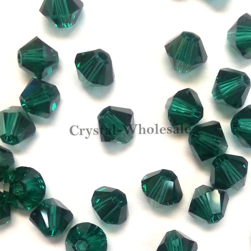36 pcs Swarovski crystal 5328 / 5301 6mm EMERALD (205) Genuine Loose Bicone Beads (Beads 5301 Crystal Bicone)