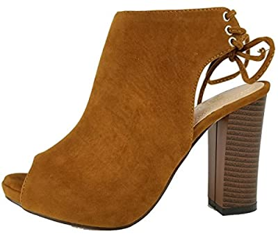 Chase & Chloe EC79 Women's Lace up High Block Heel Ankle Booties