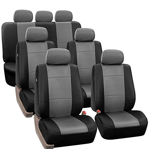 FH Group FH-PU002-1217 3 Row PU Leather Car Seat Covers w. 7 Headrests, Airbag Compatible and Split Bench, Gray/Black Color- Fit Most Car, Truck, SUV, or Van ()