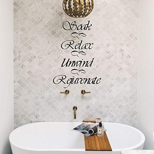 FlyWallD Bathroom Wall Decal Quotes Spa Sticker Decor Lettering Vinyl Art for Bath Room - Soak Relax Unwind Rejuvenate