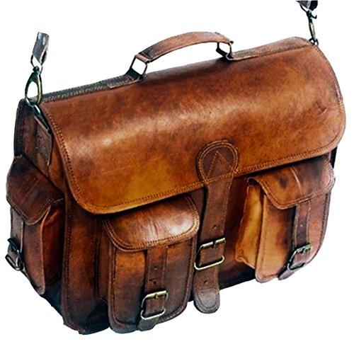 Leather Messenger Handmade Bag Laptop Bag Satchel Bag Padded Messenger Bag School Bag 16X12X5 Inches Brown … by cuero