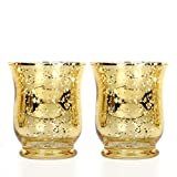"Hosley's Set of 2 Metallic Gold Glass Hurricane Candle Holder- 4"" High. Ideal Gift for Wedding, Party Favor, Spa, home, Bridal, Reiki, Meditation P1."