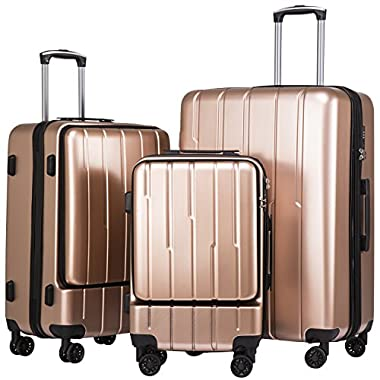 Coolife Luggage Expandable Suitcase 3 Piece Set with TSA Lock with Computer Pocket (Champagne.)
