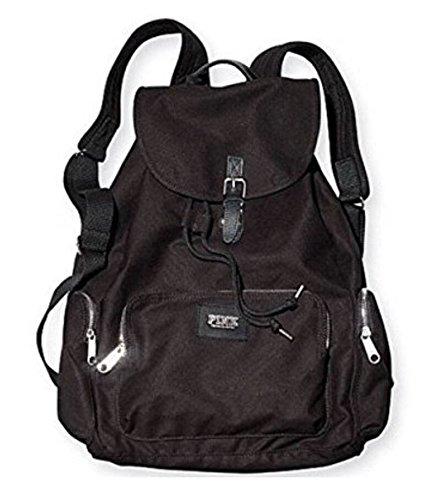 Victoria's Secret Pink School Canvas Handbag Backpack Book Bag Tote - Black