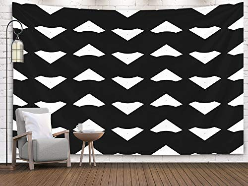 Shorping Art Tapestries, 80x60Inches Hanging Wall Tapestry for Décor Living Room Dorm Blocks Wallpaper Repeated Geometrical Figures Background Surface Pattern Design with Chevrons Mosaic Polygons ()