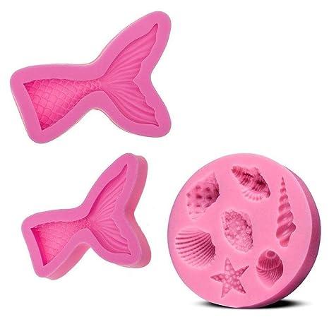 CAVN (juego de 3) moldes de pastel de silicona fondant, BPA libre de