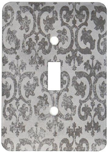 3dRose lsp_151434_1 Grunge Gray Damask Silver Grey Faded Antique Vintage Swirls Wallpaper Fancy Swirling Pattern Single Toggle Switch