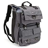DSLR Camera Canvas Backpack, Evecase Canvas Backpack with Laptop Compartment and Rain Cover for DSLR Cameras