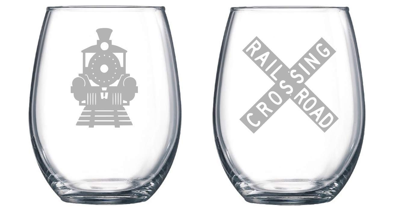 Train Crossing'set of 2 Etched Stemless Wine glass, Pint Glass, Stemmed wine Glass, Rocks glass, Pilsner or Nonic Pint glass