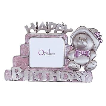 Amazon.com: Feliz Cumpleaños Marco de fotos, rosa, 2.5