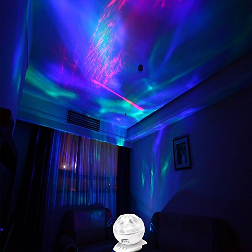 Colorful Diamonds Aurora Borealis Projection Night Light Color Changing Magic Projector Lamp with Bulit in Speaker and Audio Cable for Bedroom Living Room As Decorative Lighting (White)