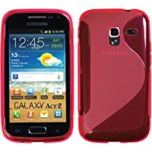 Silicone Case for Samsung Galaxy Ace 2 - S-Style hot pink - Cover PhoneNatic + protective foils