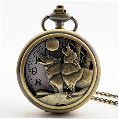 Animal Wolf Tallado Vintage Antiguo Redondo Dial Cuarzo Reloj de Bolsillo Collar Colgante Reloj para Hombres Mujeres Mejores Regalos - Bronce: Amazon.es: ...