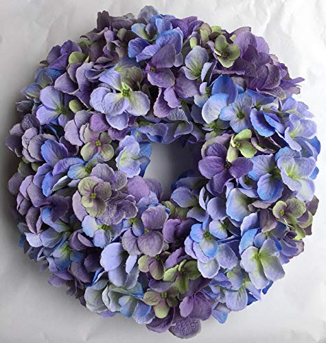 Cape Cod Blues Hydrangea Spring Candle Ring Summer Centerpiece for Everyday Table Top Decorating Shades of Blue and Purples Small Wreath 12 Inch