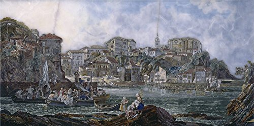 'Anonymous View Of Bermeo After 1783 ' Oil Painting, 24 X 48 Inch / 61 X 123 Cm ,printed On Polyster Canvas ,this Cheap But High Quality Art Decorative Art Decorative Canvas Prints Is Perfectly Suitalbe For Laundry Room Decoration And Home Decoration And Gifts