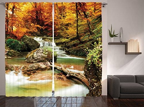 Ambesonne Waterfall Decor Collection, Autumn Creek Woods Trees and Foliage Rocks in Forest Picture, Window Treatments, Living Room Bedroom Curtain 2 Panels Set, 108 X 84 Inches, Orange Green (Fall Window)