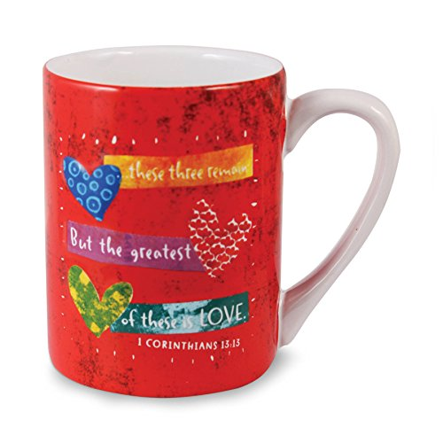Lighthouse Christian Products Color Block Faith Hope Love Ceramic Mug, 14 oz
