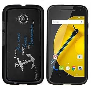 For Motorola Moto E2 E2nd Gen Case , Todas las cosas en Cristo Jesús- Diseño Patrón Teléfono Caso Cubierta Case Bumper Duro Protección Case Cover Funda