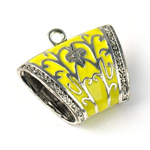 Huan Xun Zinc Alloy Scarf Tubes Antique Silver Base Jewelry Scarf Slide with Enamel Colored, Pt 761