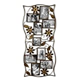 Adeco 9-Opening Decorative Bronze Iron Wall Hanging Collage Photo Frame, 4 by 6''