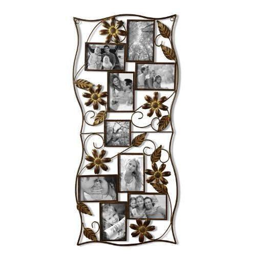 9-Opening Decorative Bronze Iron Wall Hanging Collage Photo