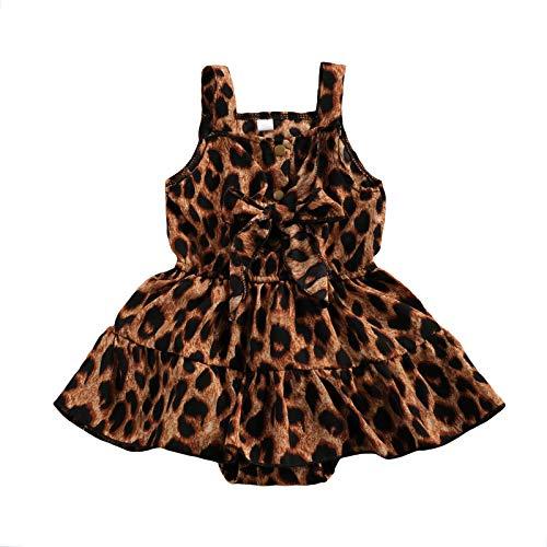 LUCSUN Pasgeboren Baby Meisje Kleding Leopard Bow Jarretel Jumpsuits Jurk Zoom Driehoek Romper Korte Rok Outfits