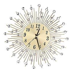 LOVIVER Metal Wall Clock Wall Clock Star Burst Sunburst Diamonds Decor with Minute Hand - Gold