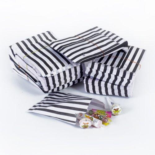 50x Black Candy Stripe Sweet/Gift Paper Bags – 5″ x 7″