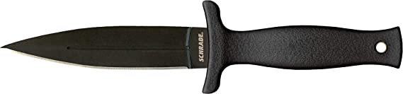 Schrade SCHF19 7in High Carbon Stainless Steel Small Boot Knife with 3.6in Dual Sided Blade and TPE Handle for Outdoor Survival