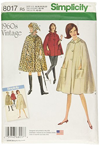 Simplicity Patterns Misses' Vintage 1960's Cape in Two Lengths Size: R5 (14-16-18-20-22), 8017]()