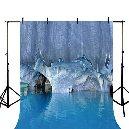 - Blue Stylish Backdrop,Marble Cave General Carrera Lake in Chile Natural Wonders Rocks Azure Water for Photography,98.4